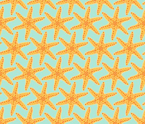 Yellow Starfish on Seafoam fabric by suziqcreations on Spoonflower - custom fabric
