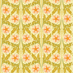 Classic floral motif in peach and avocado