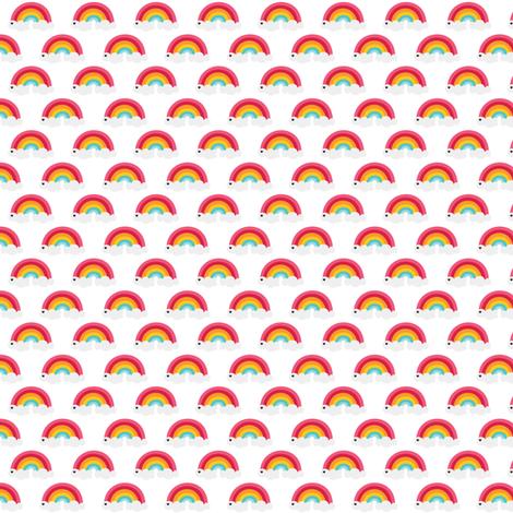 sunny stormy rainbows on white xsm fabric by misstiina on Spoonflower - custom fabric