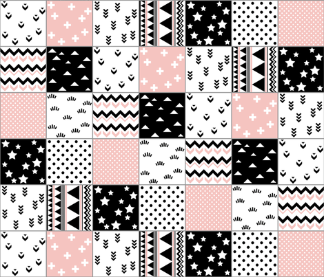 SouthWestern Quilt B+W+P fabric by woodmouse&bobbit on Spoonflower - custom fabric