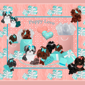 Shih Tzu Coral  Quilt Pillow Panel - 4 per yard