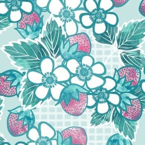 Large Floral and Strawberry in Pink and Mint