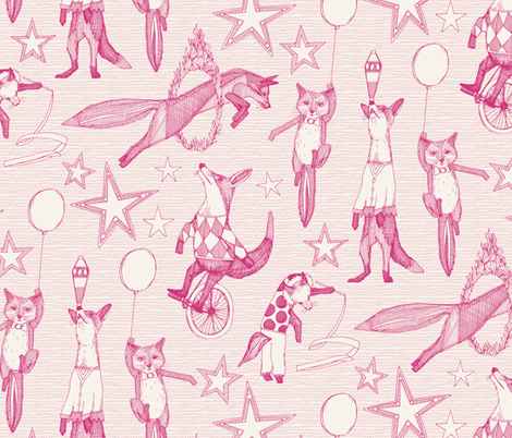 foxy circus pink ivory fabric by scrummy on Spoonflower - custom fabric