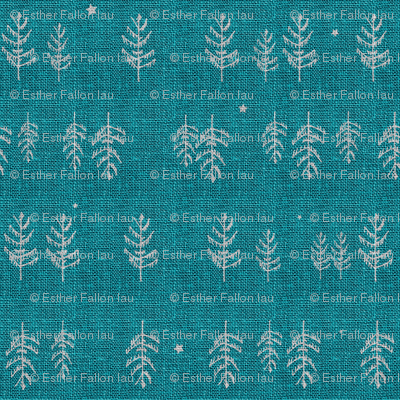 Arctic Night Forest (teal)
