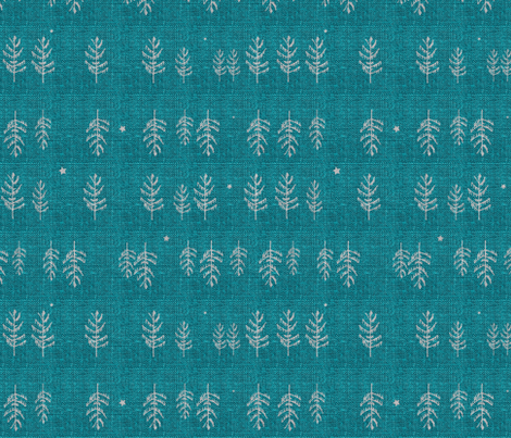 Arctic Night Forest (teal) fabric by nouveau_bohemian on Spoonflower - custom fabric