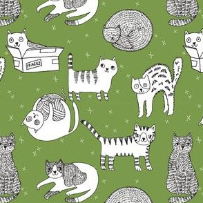 cat fabric // cute cats kitten pets design by andrea lauren - green