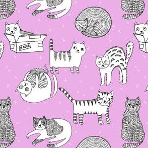 cat fabric // cute cats kitten pets design by andrea lauren - purple