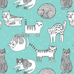 cat fabric // cute cats kitten pets design by andrea lauren - blue