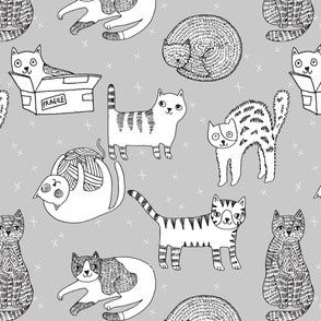 cat fabric // cute cats kitten pets design by andrea lauren - grey