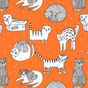cat fabric // cute cats kitten pets design by andrea lauren - orange