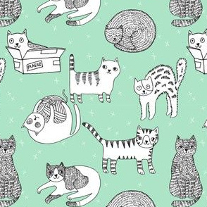 cat fabric // cute cats kitten pets design by andrea lauren - mint