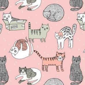 cat fabric // cute cats kitten pets design by andrea lauren - pink