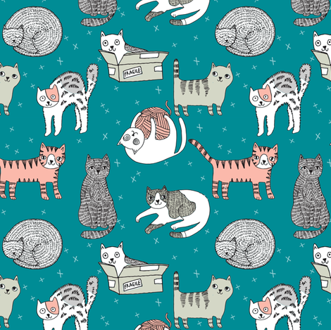 cat fabric // cute cats kitten pets design by andrea lauren - turquoise fabric by andrea_lauren on Spoonflower - custom fabric