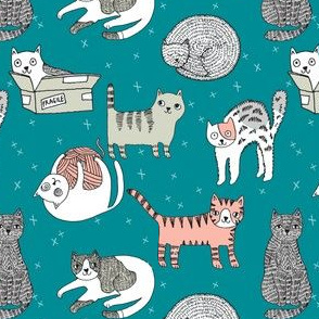 cat fabric // cute cats kitten pets design by andrea lauren - turquoise