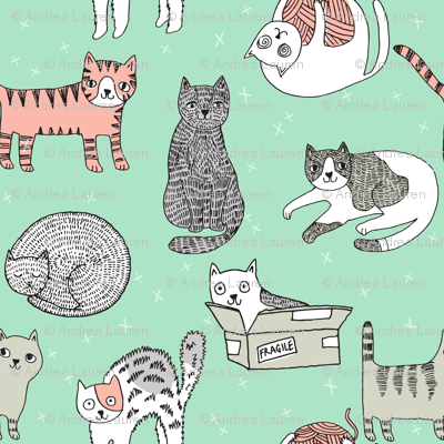cat fabric // cute cats kitten pets design by andrea lauren - mint and peach