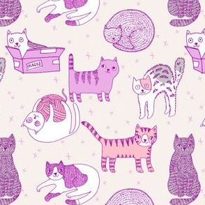 cat fabric // cute cats kitten pets design by andrea lauren - pastel 1