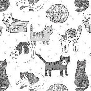 cat fabric // cute cats kitten pets design by andrea lauren - greyscale