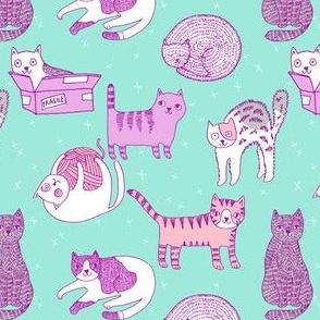 cat fabric // cute cats kitten pets design by andrea lauren - pastel mint