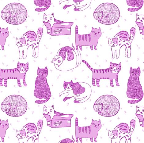 cat fabric // cute cats kitten pets design by andrea lauren - pastel purple fabric by andrea_lauren on Spoonflower - custom fabric