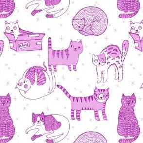 cat fabric // cute cats kitten pets design by andrea lauren - pastel purple