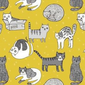 cat fabric // cute cats kitten pets design by andrea lauren - mustard