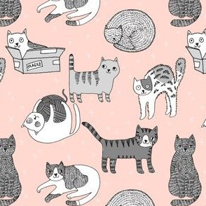 cat fabric // cute cats kitten pets design by andrea lauren - pink and grey