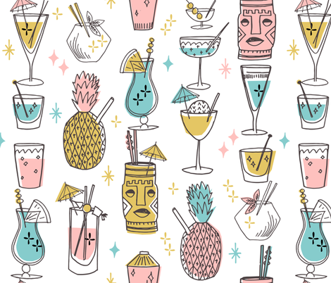 Retro Cocktails fabric fabric by andrea_lauren on Spoonflower - custom fabric