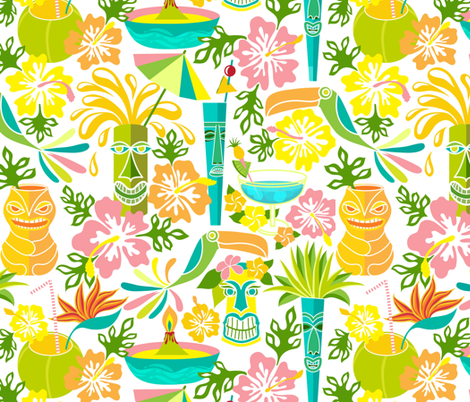 Tiki, tiki, tiki---cocktails for all! fabric by vo_aka_virginiao on Spoonflower - custom fabric