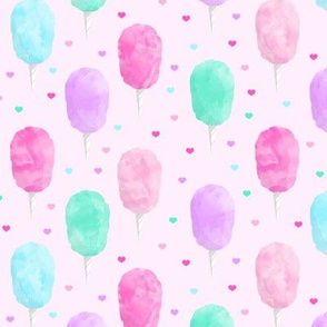 cotton candy on pink with hearts