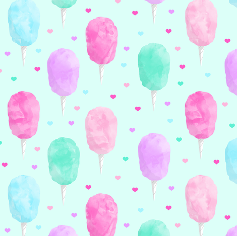 cotton candy on light green with hearts fabric by littlearrowdesign on Spoonflower - custom fabric