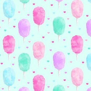 cotton candy on light green with hearts