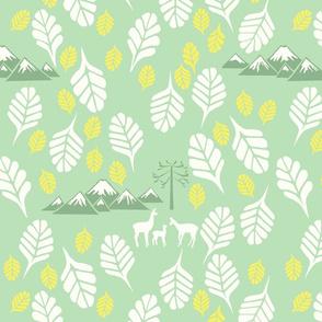 Fresh green leaves and llamas