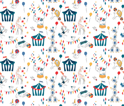 All the Fun of the Circus retro fabric by colour_angel_by_kv on Spoonflower - custom fabric