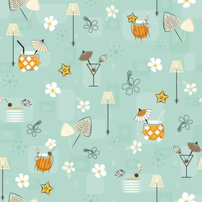 Mid-Century Hawaiian Cocktails Seamless Repeating Pattern on Light Blue