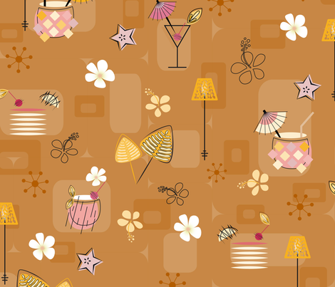 Mid-Century Hawaiian Cocktails Seamless Repeating Pattern on Mustard fabric by paula_ohreen_designs on Spoonflower - custom fabric