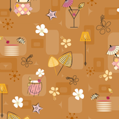 Mid-Century Hawaiian Cocktails Seamless Repeating Pattern on Mustard