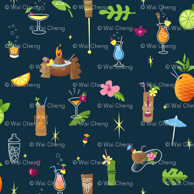 Blue Hawaii Pattern_Hilton Famous Drinks