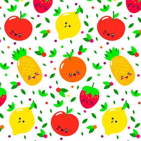 kawaii fruits fabric by stofftoy on Spoonflower - custom fabric