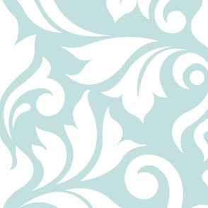 Flourish Damask Pattern White on Duck Egg Blue