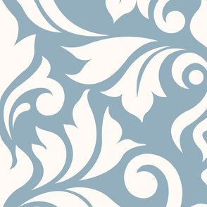 Flourish Damask Pattern Cream on Blue