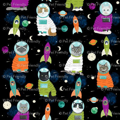 Space cats fabric cat cats design cute cats kittens for Space baby fabric