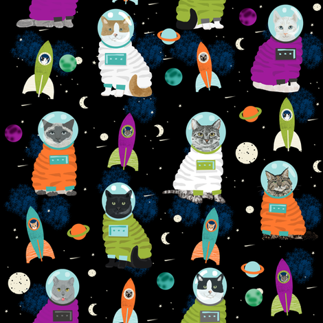 space cats fabric // cat cats design cute cats kittens kitty design - black fabric by petfriendly on Spoonflower - custom fabric
