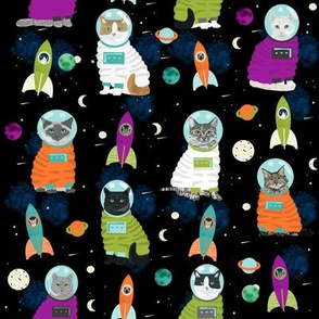 space cats fabric // cat cats design cute cats kittens kitty design - black