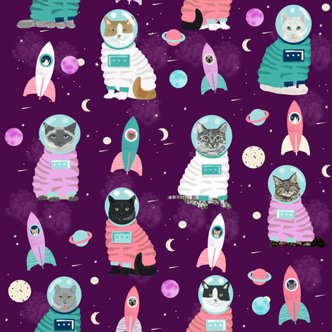 space cats fabric // cat cats design cute cats kittens kitty design - purple fabric by petfriendly on Spoonflower - custom fabric