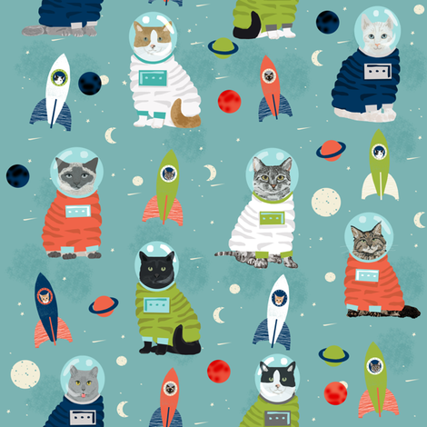 space cats fabric // cat cats design cute cats kittens kitty design - blue fabric by petfriendly on Spoonflower - custom fabric