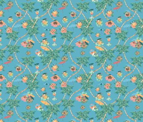 Blue Hawaii Retro Drinks fabric by arrpdesign on Spoonflower - custom fabric