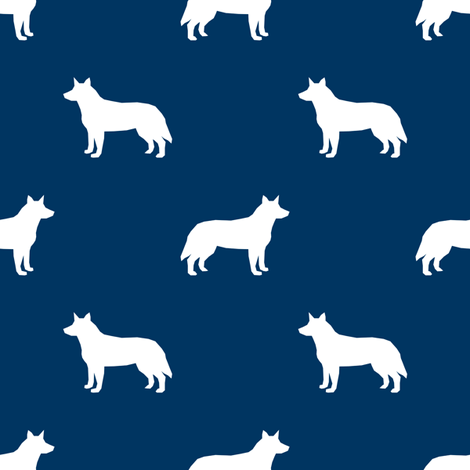 Australian Cattle Dog silhouette navy fabric by petfriendly on Spoonflower - custom fabric