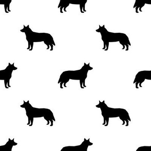 Australian Cattle Dog silhouette white and black