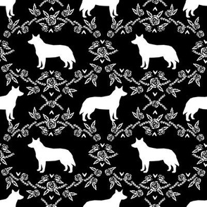 Australian Cattle Dog floral silhouette dog breed pattern black and white