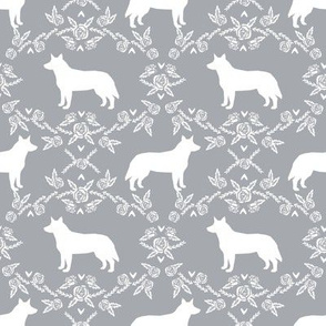 Australian Cattle Dog floral silhouette dog breed pattern grey